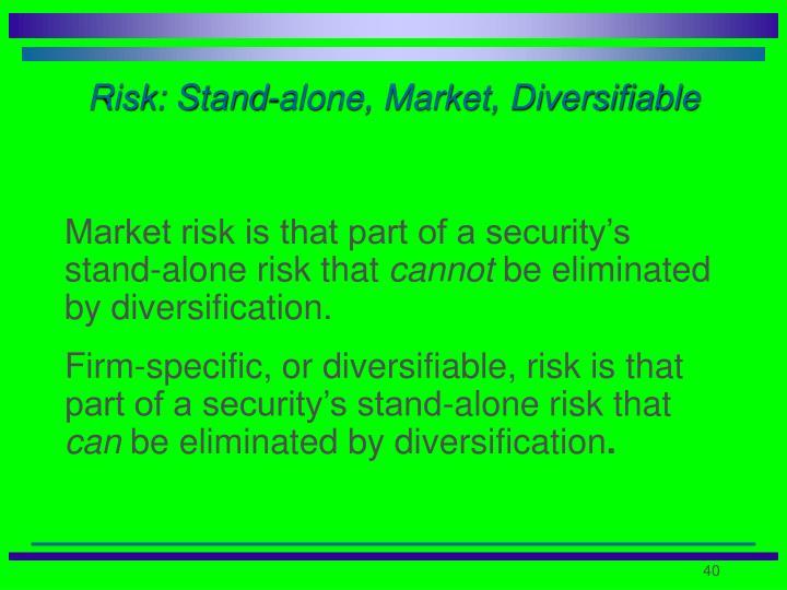 Risk: Stand-alone, Market, Diversifiable