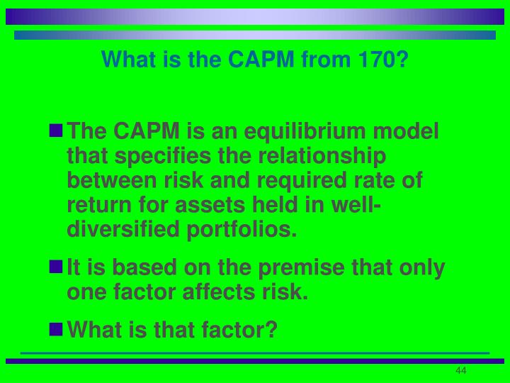 What is the CAPM from 170?