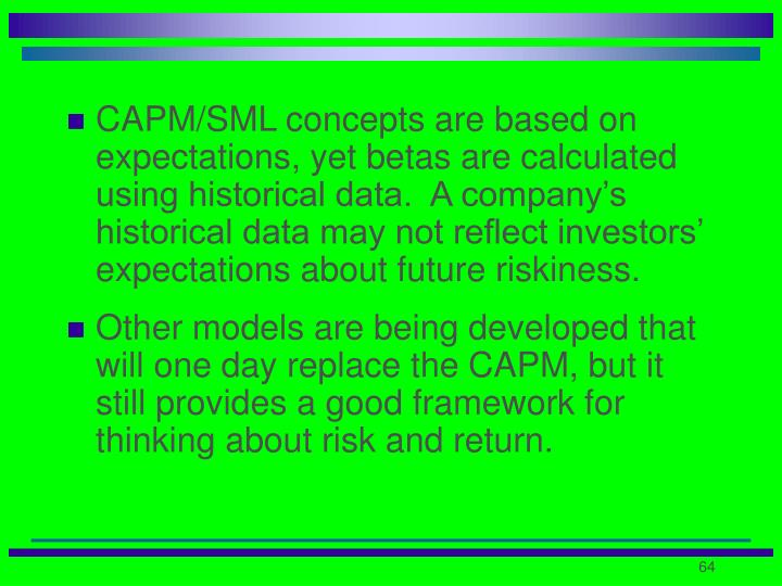 CAPM/SML concepts are based on expectations, yet betas are calculated using historical data.  A company's historical data may not reflect investors' expectations about future riskiness.