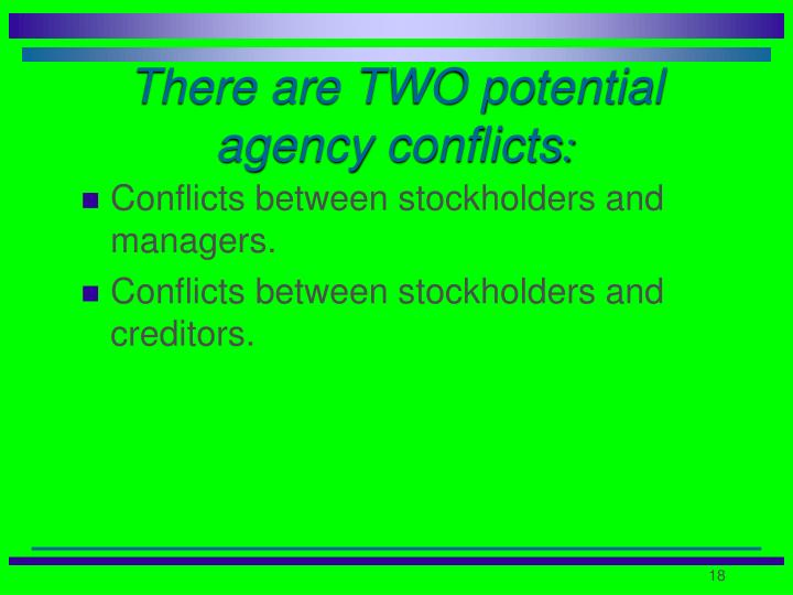 There are TWO potential agency conflicts