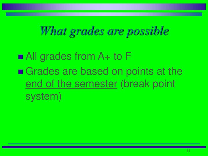 What grades are possible