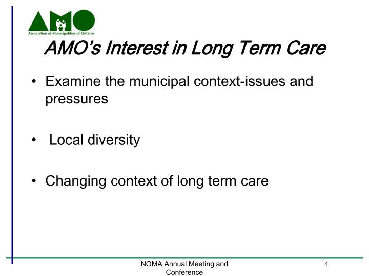 AMO's Interest in Long Term Care