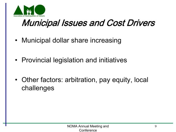 Municipal Issues and Cost Drivers