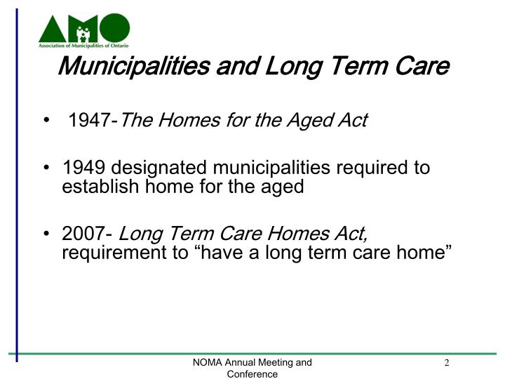 Municipalities and long term care