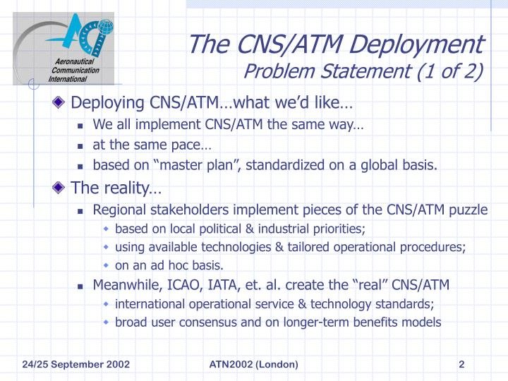 The cns atm deployment problem statement 1 of 2