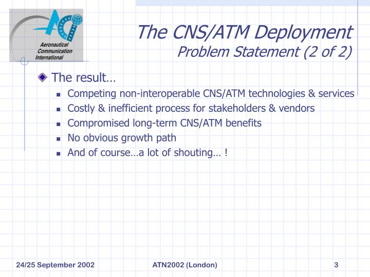 The cns atm deployment problem statement 2 of 2
