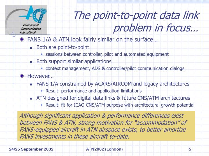 The point-to-point data link problem in focus…