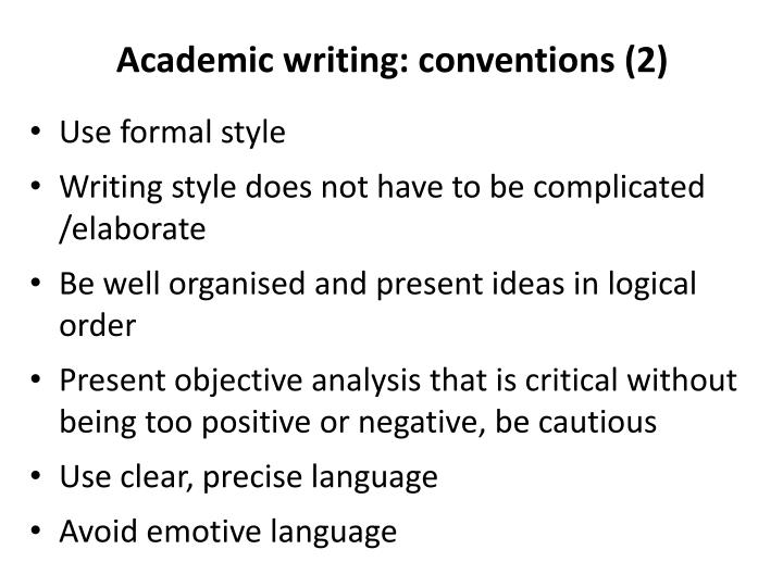 Academic writing: conventions (2)