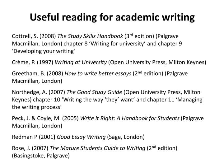 Useful reading for academic writing