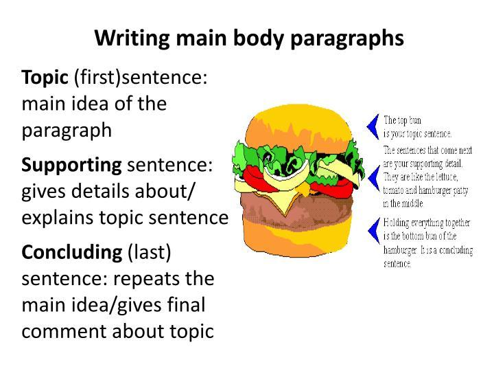 Writing main body paragraphs
