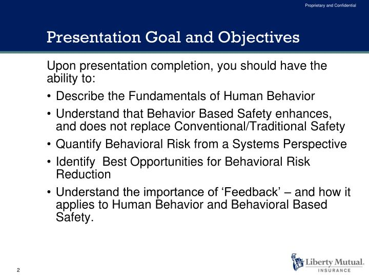 Presentation goal and objectives