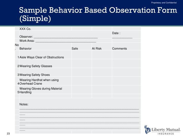 Sample Behavior Based Observation