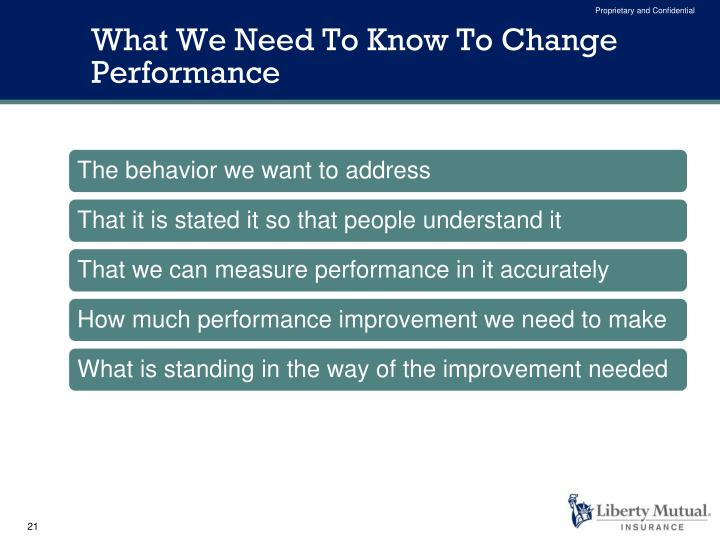 What We Need To Know To Change Performance