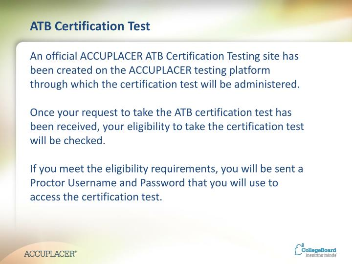 ATB Certification Test