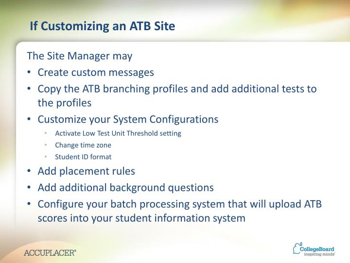 If Customizing an ATB Site