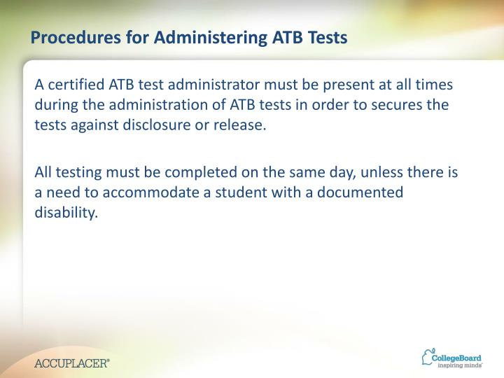 Procedures for Administering ATB Tests