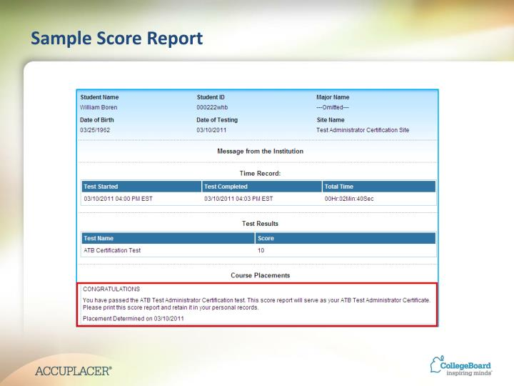 Sample Score Report
