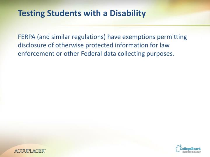 Testing Students with a Disability