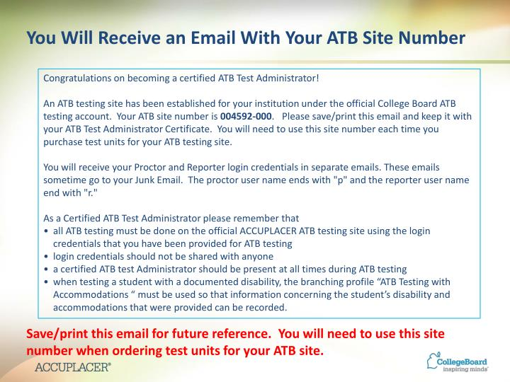 You Will Receive an Email With Your ATB Site Number