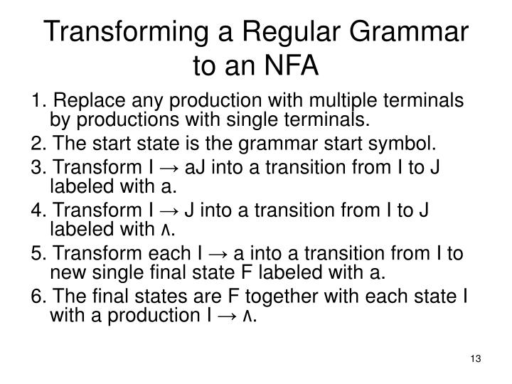 Transforming a Regular Grammar to an NFA