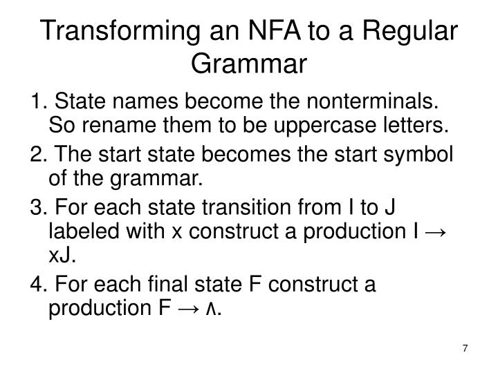 Transforming an NFA to a Regular Grammar