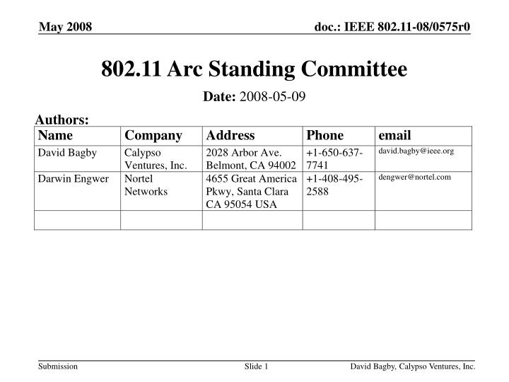 802.11 Arc Standing Committee