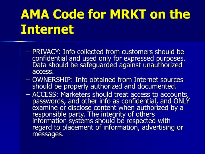 AMA Code for MRKT on the Internet