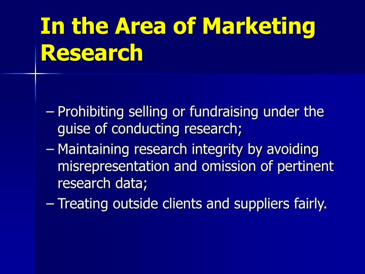 In the Area of Marketing Research