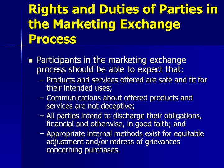Rights and Duties of Parties in the Marketing Exchange Process