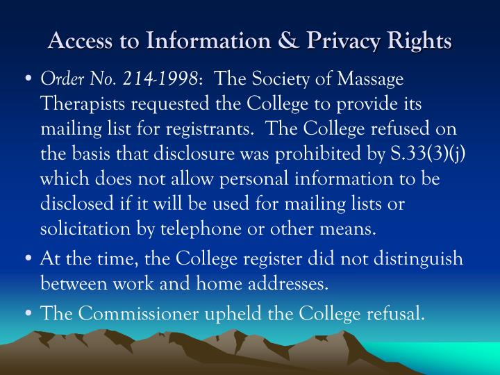 Access to Information & Privacy Rights