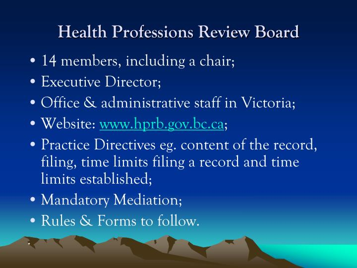 Health Professions Review Board