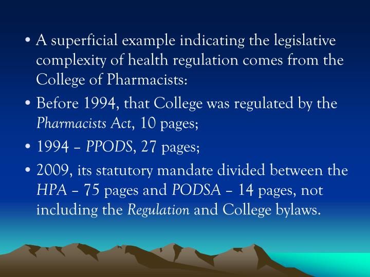 A superficial example indicating the legislative complexity of health regulation comes from the Coll...
