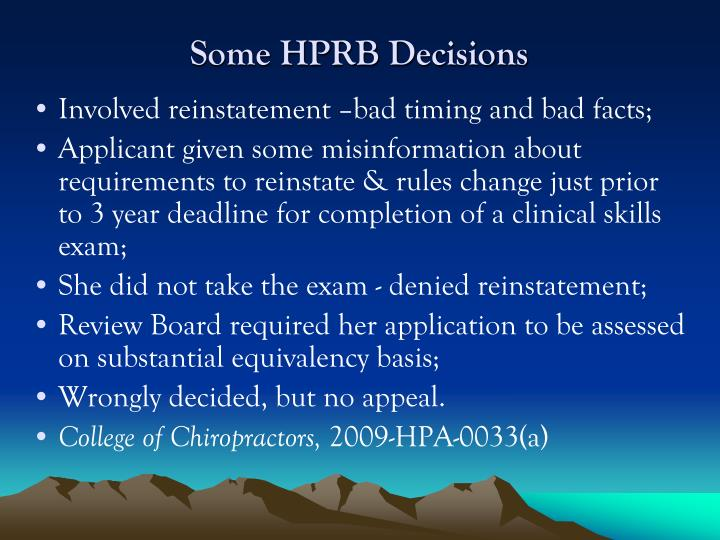 Some HPRB Decisions