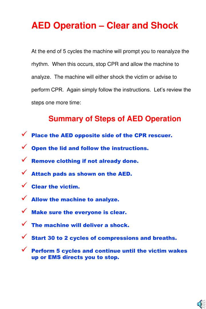 AED Operation – Clear and Shock