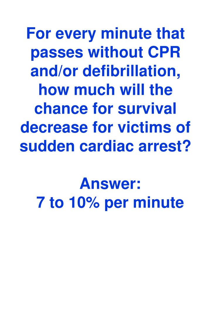 For every minute that passes without CPR and/or defibrillation, how much will the chance for survival decrease for victims of sudden cardiac arrest?