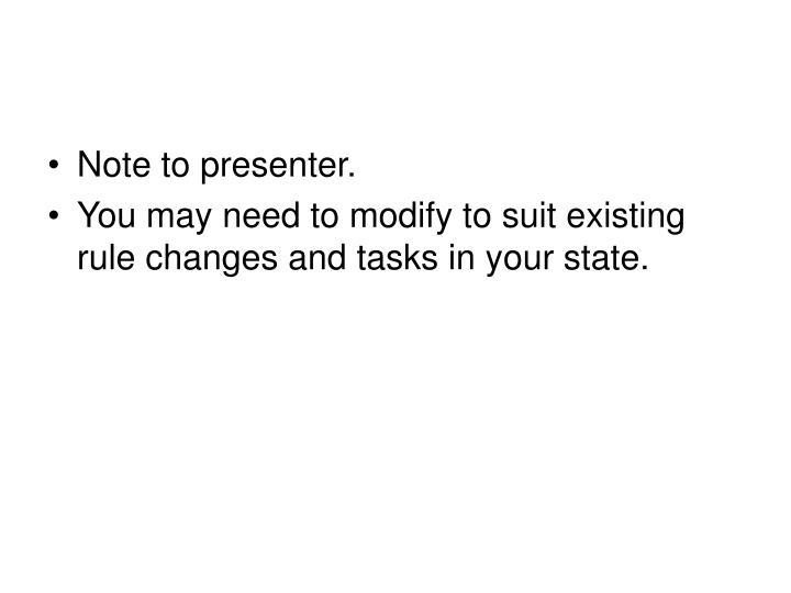Note to presenter.