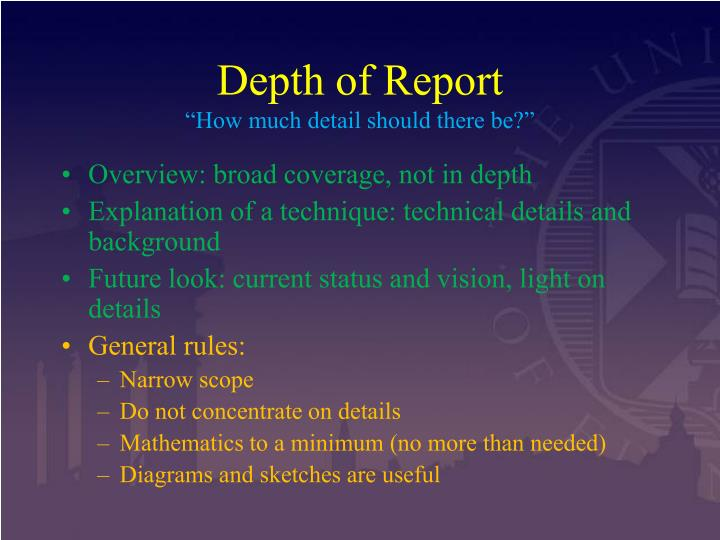 Depth of Report