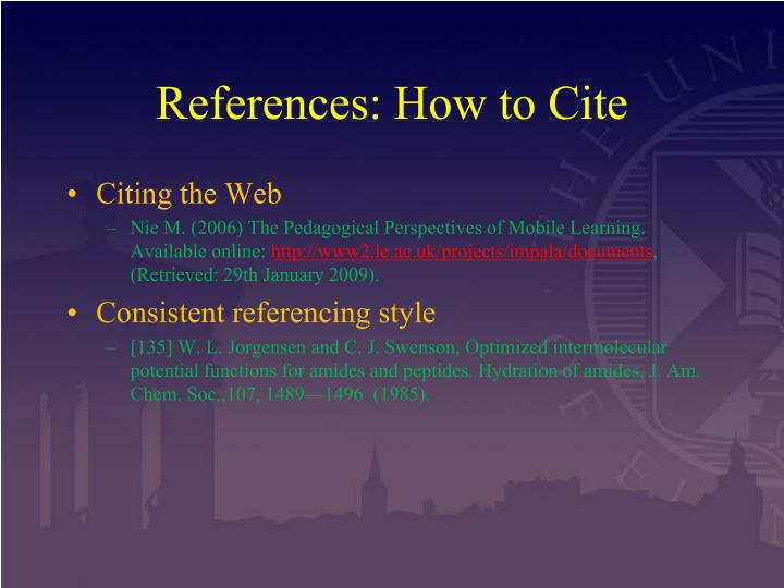 References: How to Cite