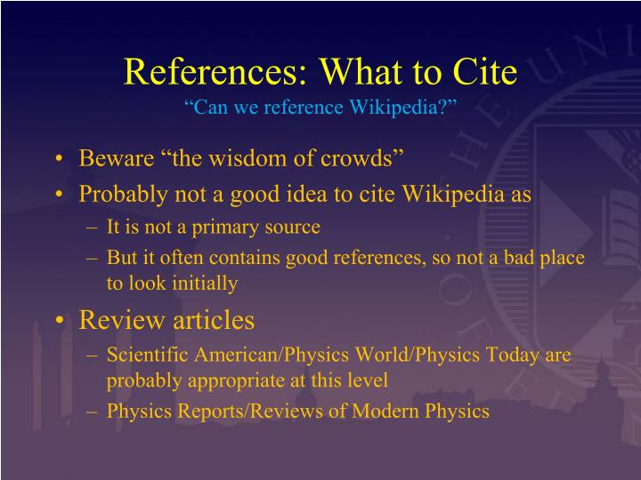 References: What to Cite