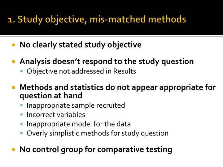 1. Study objective,