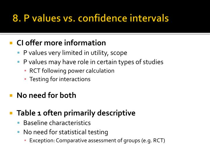 8. P values vs. confidence intervals