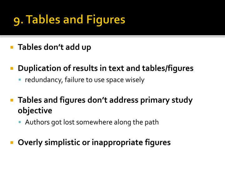 9. Tables and Figures
