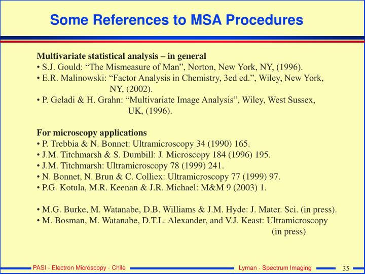Some References to MSA Procedures