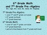 6 th grade math and 7 th grade pre algebra mrs cagle mrs davis ms adams mr hoogkamp