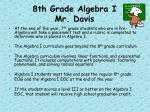 8th grade algebra i mr davis