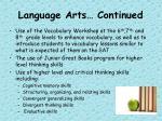 language arts continued