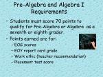 pre algebra and algebra i requirements