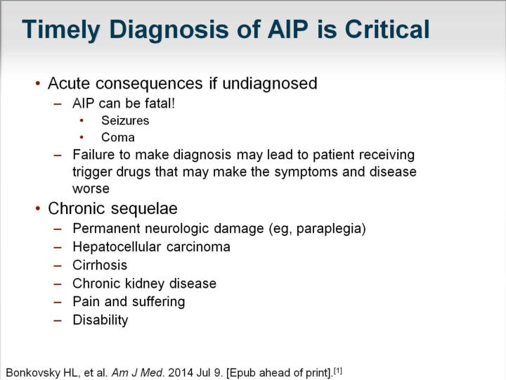 Timely Diagnosis of AIP is Critical