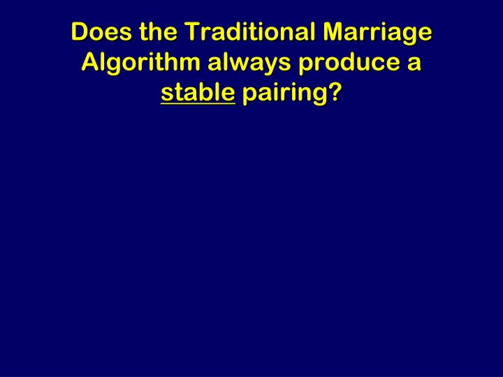Does the Traditional Marriage Algorithm always produce a