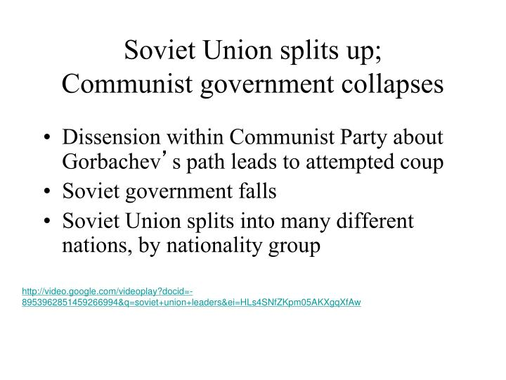 Soviet Union splits up;